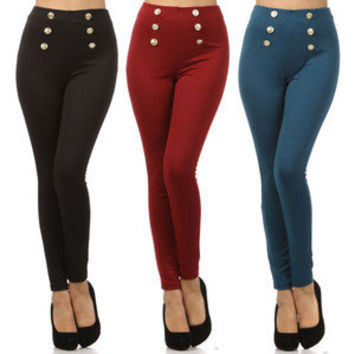 Button Front High Waist Pants Stretch Leggings Sailor Pull On Waisted Fashion