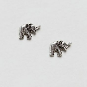 Kingsley Ryan sterling silver elephant stud earrings at asos.com