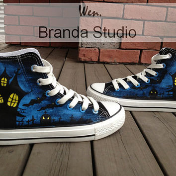 2013 Halloween Vampire Studio Hand Painted Shoes 51.99Usd,Paint On Custom Converse Shoes Only 91Usd,Buy One Get One Phone Case Free