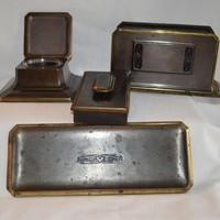 Gorgeous 5 Piece Bronze Desk Set ~  Art Deco ~  Inkwell, Letter Holder, Pen Rest & Blotter  ~ Bradley and Hubbard Meriden CN 1900-1940
