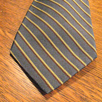 Brooks Brothers Necktie, Classic Stripe, Steel Blue, Light Yellow and Brown Pinstripes, Woven Silk