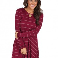 Stop Your Tears Dress in Burgundy | Monday Dress Boutique