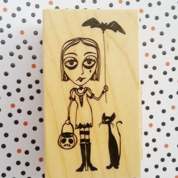 Halloween stamp, goth girl, inkadinkado, wooden stamp, scrapbooking stamp, creepy, steampunk, witch stamp, scary stamp, ready to ship