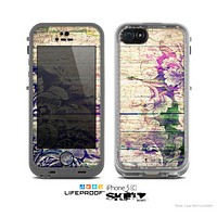 The Abstract Color Floral Painted Wood Planks Skin for the Apple iPhone 5c LifeProof Case
