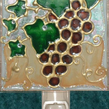 Grapes Night Light Hand Painted Red Burgundy Wine Vineyard Fruit Tuscan Kitchen Decorative Nightlight Art Stained Glass Tuscan Wall Decor