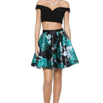 Two piece short prom dress js805