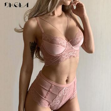 High Waist Gray Bra Embroidery Lingerie Sets Transparent Deep V Lace Underwear