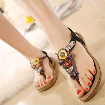2016 Summer Flat Sandals Ladies Bohemia Beach Flip Flops Shoes Gladiator Women Shoes Sandles platform Zapatos Mujer Sandalias