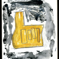Abstract Original Mono Print yellow grey with hand pencil, charcoal  by Detroit Artist Free Shipping