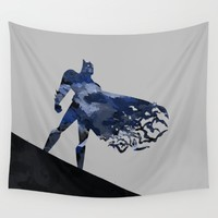 Bat man  Dark blue hero Knight comic digital brush Wall Tapestry by Xiari