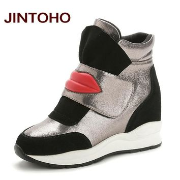 JINTOHO Suede Leather Women Casual Boots Pointed Toe Fashion Height Increasing Rubber