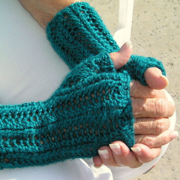 Lacy Fingerless Texting Gloves--80s Inspired Handknit Gauntlets
