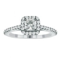 Amazon.com: 1.35 CT Princess Cut Diamond Engagement Ring in 14k White Gold Micro Pave Setting: Jewelry