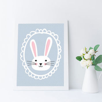 Kawaii Bunny Art Print, Woodland Nursery Printable, Instant Download, Kids Room Wall Art