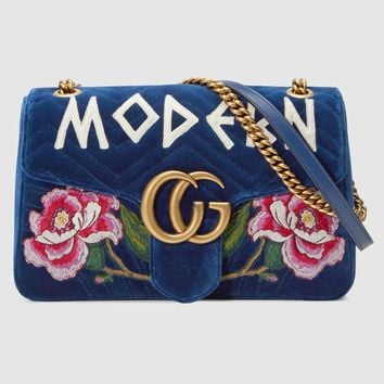 """Gucci"" Women Embroidery Flower Letter Velvet Metal Chain Single Shoulder Messenger Bag Small Square Bag"