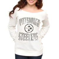 Junk Food Pittsburgh Steelers Ladies Classic Off-The-Shoulder Sweatshirt - White