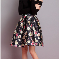 Floral Pleated Mini A-Line Skirt