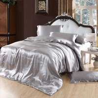 FADFAY Grey Bedding Sets,Silk Bedding Set Luxury,Queen Size Bed Set,4Pcs