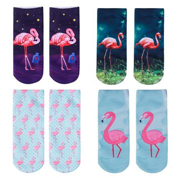 Flamingo Series - Ankle Length Socks Funny Crazy Cool Novelty Cute Fun Funky Colorful
