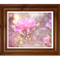 Pink Rose Fine Art Print, Painterly, Shabby Chic Photography, Cottage Garden, Watercolour Paper
