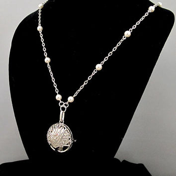 Women's Aromatherapy Necklace with Beautiful Filigree Diffuser Locket with Swarovski Pearls, Essential Oils Necklace with Tree of Life