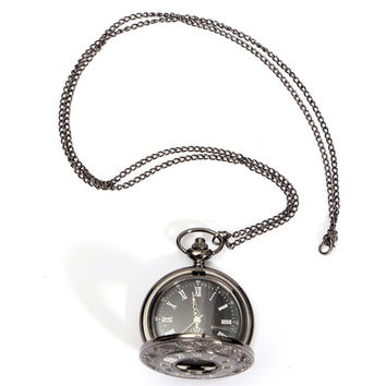 1PCS Size Black Classic Vintage Pockets Watch Roman Style With 40cm Long Necklace Lanyards Roman Word