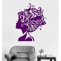 Vinyl Wall Decal Beauty Salon Hair Stylist Hairdresser Barber Tools Stickers Unique Gift (ig2979)