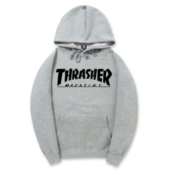 Trendy THRASHER Printed Unisex Round Neck Sweaters Hoodies