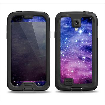 The Purple and Blue Scattered Stars Samsung Galaxy S4 LifeProof Fre Case Skin Set