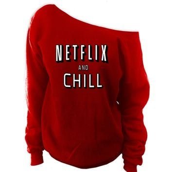 Netflix and Chill Off-Shoulder Oversized Sweatshirt