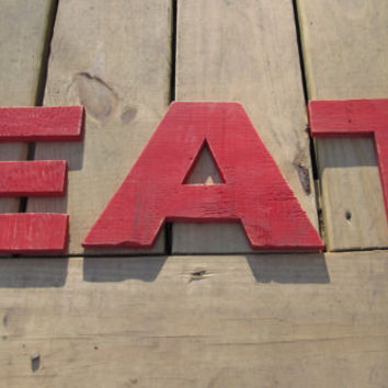 SALE Reclaimed Wood EAT sign. Kitchen sign. Dining sign. Made to Order