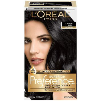L'Oréal Paris Superior Preference Permanent Hair Color, 1.0 Ultimate Black (Packaging May Vary)