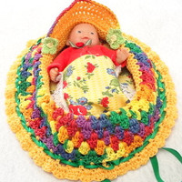 bright colorful crochet cradle purse travel toy itty bitty baby church purse quiet book  BG#98
