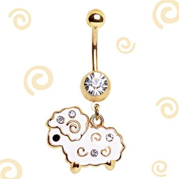 Gold Plated White Lamb Navel Ring