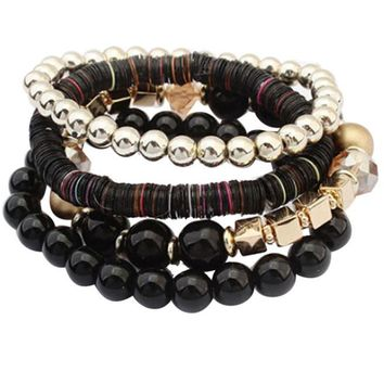 Women 4 Pcs Colorful Beads  Bangle Handmade Bracelets Florid Cool Black