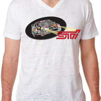 Subaru STi Sticker Bomb Fashion Burnout V Neck T Shirt