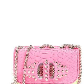 Christian Louboutin 'Sweety Charity' Studded Genuine Python Crossbody Bag | Nordstrom
