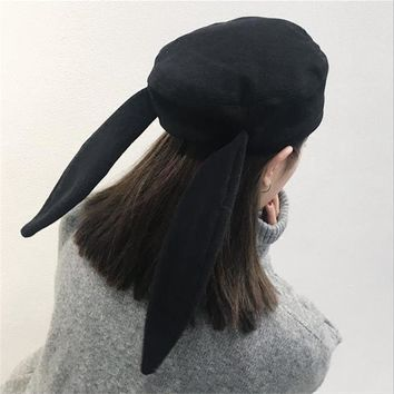DoreenBow Wool Beret Hat For Women Winter Warm Rabbit Bunny Ears Hats Girls Casual High Quality Solid Harajuku Chic Korean Style