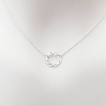 Sterling silver, Circle, Knot, Necklace, Lovers, Best friends, Mom, Sister, Gift, Accessory, Jewelry