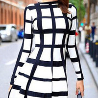 Black and White Plaid Long Sleeve Skater Dress