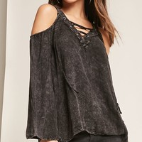 Mineral Wash Open-Shoulder Top