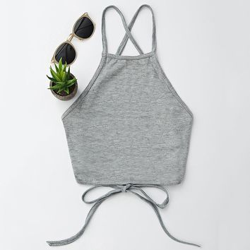ZAFUL Sexy Lace Up Camis Women Tops Summer Vintage Brown Faux Cropped Backless Tops Slim Cami Party Sexy Crop Top Fall Vest