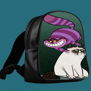 grumpy cat and cat cheshire for Backpack / Custom Bag / School Bag / Children Bag / Custom School Bag *