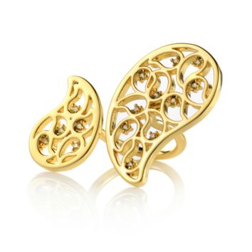 Ina Gold Double Ring Yellow CZ