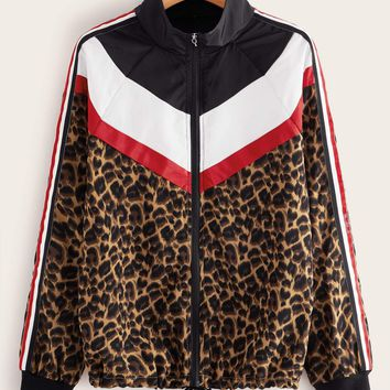 Leopard Colorblock Drawstring Hem Windbreaker Jacket