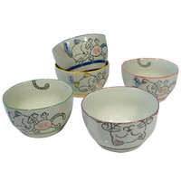 Colored Cat Rice Bowl Set 4.25"