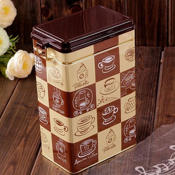 Large Sealed Brown Coffee Cup Mocha Cake Kitchen Coffee Tea Jar Tin Metal Home Decor Can