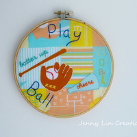 Play Ball Sports Themed Child's Wall Decor Hoop Art