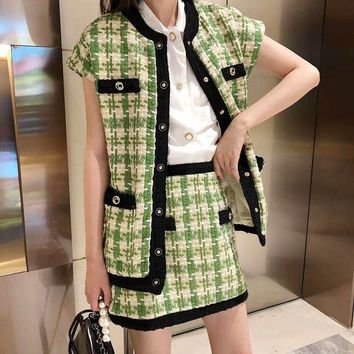 """Gucci"" Temperament Fashion Multicolor Sleeveless Cardigan Vest Jacket Skirt Set Two-Piece"