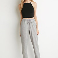 Woven Crosshatch Drawstring Trousers